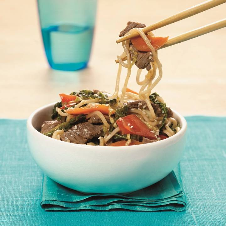 Chinese egg noodle stir-fry with Scotch Beef and sesame seeds
