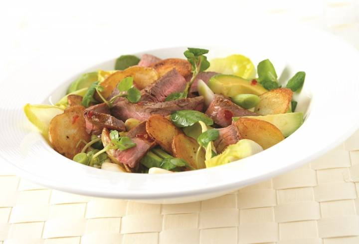 Warm Chilli Scotch Beef, Chicory and Avocado Salad