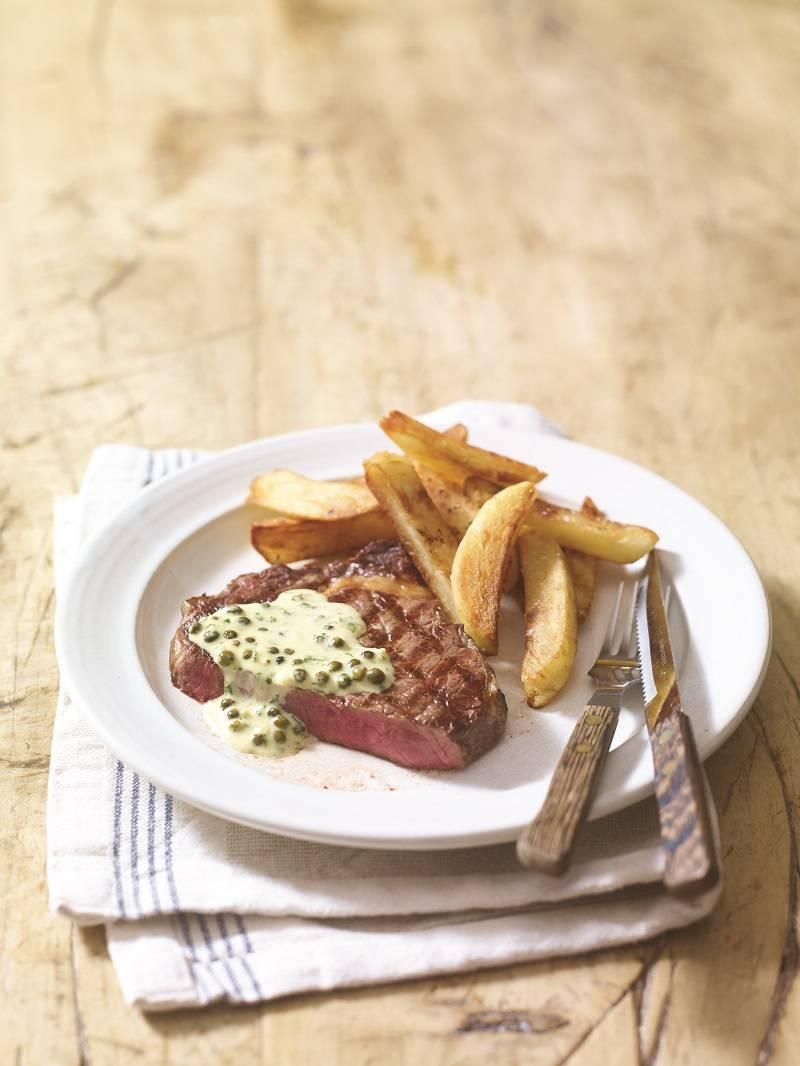 Scotch Beef Rib-eye Steak with Peppercorn Sauce